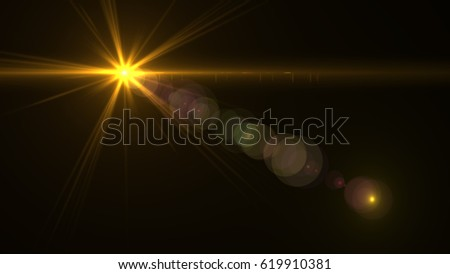 Lens Flare light over Black Background. Easy to add overlay or screen filter over photos #619910381