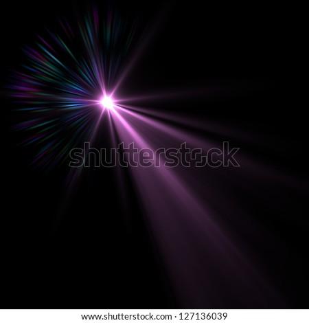 Lens flare over black background. Vector