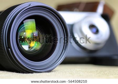 Lens flare retro camera #564508210
