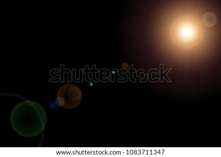 Lens Flare ,Sun Flare on black background object design #1083711347