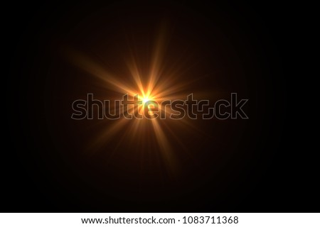 Photo of  Lens Flare ,Sun Flare on black background object design