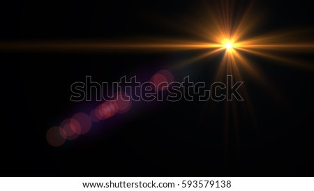 Lens flare yellow light over black background. easy to add overlay or screen filter over Photos #593579138