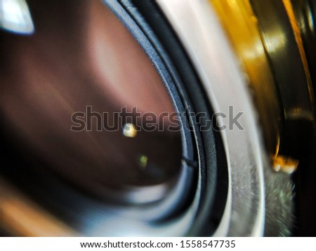 lens glass close-up, glare of light on the lens, macro shot