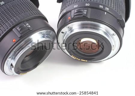 Lenses isolated on white background