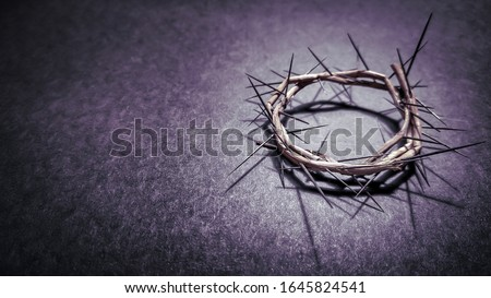 Lent Season,Holy Week and Good Friday concepts - photo of crown of thorns in purple vintage background. Stock photo