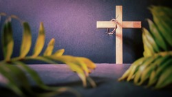 Lent Season,Holy Week and Good Friday concepts - photo of wooden cross in vintage background