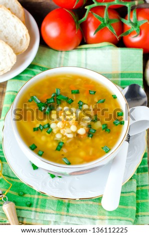 Lentil soup and mushrooms, selective focus - stock photo