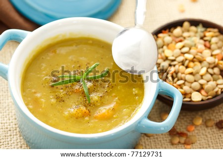 Lentil soup in blue pot