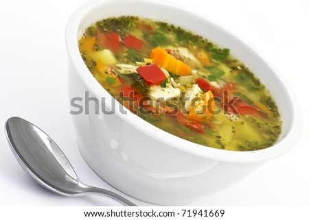 lentil soup with lots of vegetables and chicken