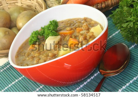 Lentil stew with potatoes, carrots and parsley