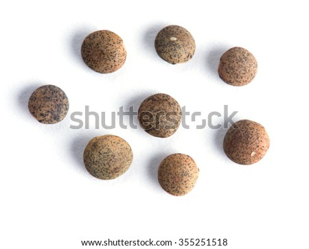Lentil Whole seeds with cover isolated on white background #355251518