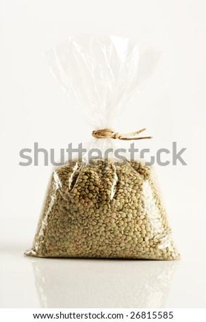 lentils beans on a plastic bag