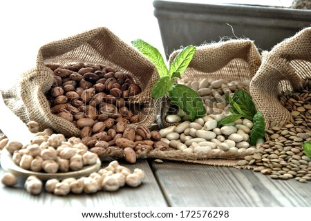 lentils, chickpeas, red beans in cloth bags