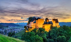 Lenzburg Castle in Aargau, Switzerland at sunset