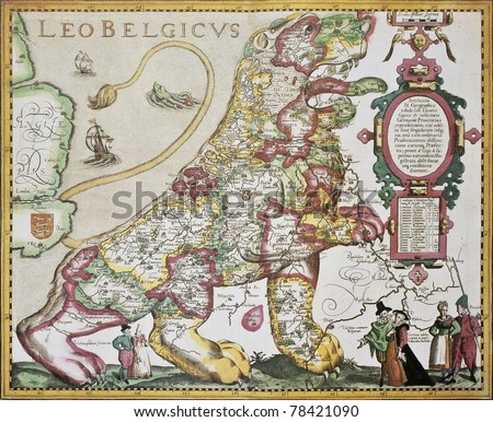 Leo Belgicus: Belgium and Netherlands old map in the form of a lion. Created by Pieter van der Kerre after Michael Aitzinger, published in Amsterdam, 1617