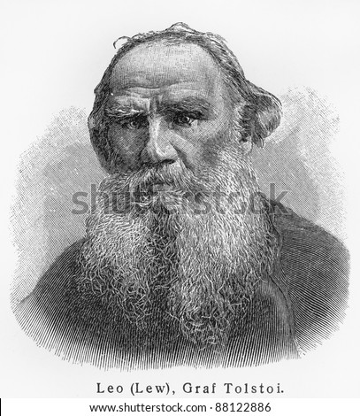 Leo Nikolayevich Tolstoy - Picture from Meyers Lexicon books written in German language. Collection of 21 volumes published  between 1905 and 1909.