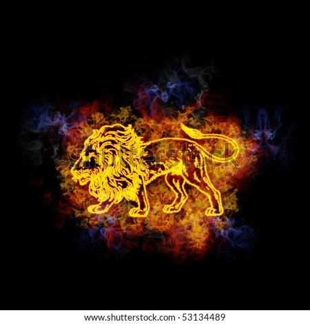 leo zodiac sign, covered in flames.
