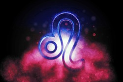 Leo zodiac sign, night sky,Horoscope Astrology background,Leo horoscope symbol, Pink and Blue