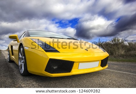 LEON, SPAIN - NOVEMBER 15: A Lamborghini Gallardo participating in the 4th concentration of the International Association of Supercars on November 15, 2012 in Leon, Spain