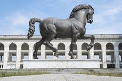 Leonardo da Vinci Horse statue in Milan, Italy. The world's largest equestrian statue.