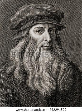 Leonardo da Vinci (1452-1519), Italian Renaissance painter from Florence. Engraving by Cosomo Colombini (d. 1812) after a Leonardo self portrait. Ca. 1500 Foto stock ©