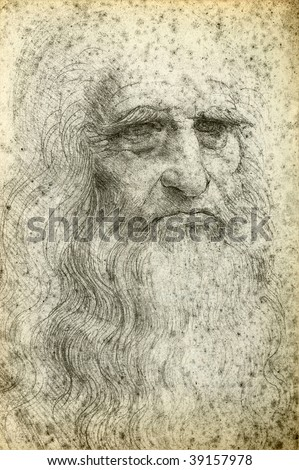 Leonardo da Vinci Self-Portrait, 1512 - stock photo