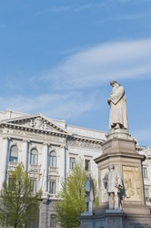 Leonardo da Vinci statue near La Scala opera at Milan, Italy