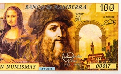 Leonardo di ser Piero da Vinci, Mona Lisa, portrait from  50 Numismas Canberra 2019 Banknotes. Fancy Polymer money. Applied Currency Concepts. Banknote Close Up UNC Uncirculated - Collection