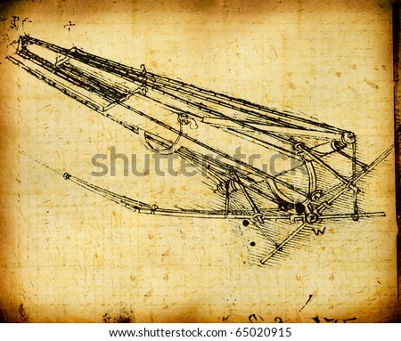 Leonardo's Da Vinci engineering drawing from 1503 on textured background.