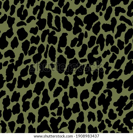 Leopard abstract skin jaguar panther seamless pattern fabric print texture, with black shapes illustration on militar color background. Foto stock ©