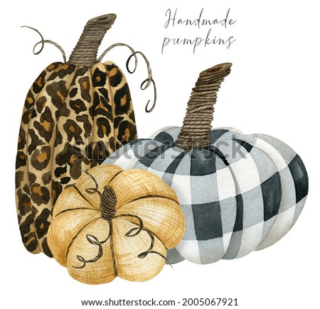 Leopard and chechered pumpkin composition clipart, fall arrangement for thanksgiving greeting cards, invitations, handmade decor harvest clip art