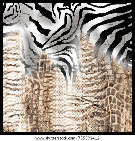 Leopard and zebra pattern. Silk scarf