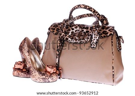 Leopard bag and shoes isolated on white background - stock photo