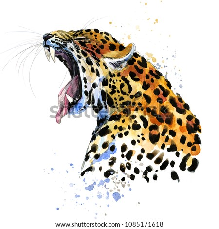 Leopard hand drawn watercolor illustration