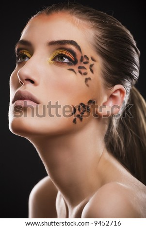 leopard make up stock photo 9452716 shutterstock. Black Bedroom Furniture Sets. Home Design Ideas