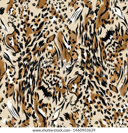 Leopard pattern design - funny drawing seamless pattern. Lettering poster or t-shirt textile graphic design. / wallpaper, wrapping paper Foto stock ©