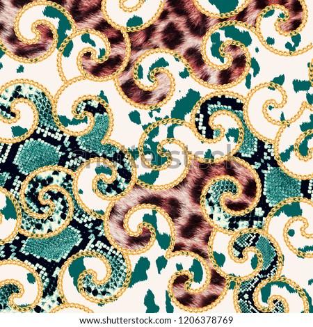 Leopard Pattern, Snake  Print, Animal print, chain
