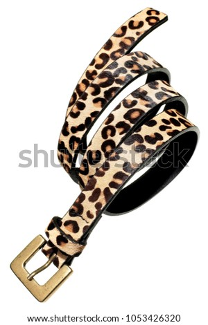 leopard print belt with gold buckle