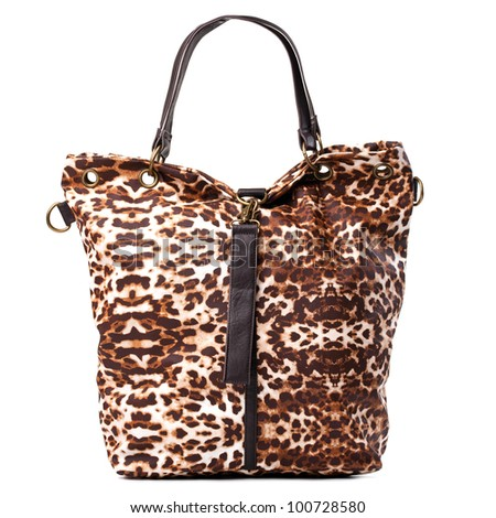 Leopard-print leather bag isolated over white