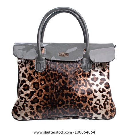Leopard-print leather handbag isolated over white