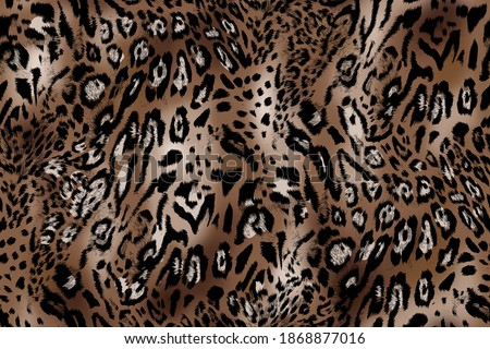 Leopard skin illustration seamless pattern fabric print, leather fur abstract animal safari wallpaper texture, with original brown colors.