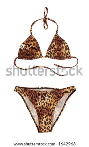 Leopard swimsuit isolated on white with clipping path