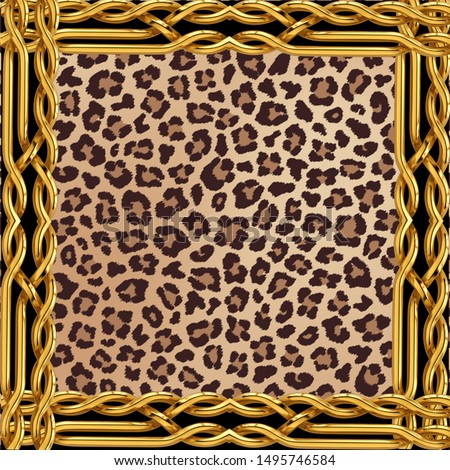 leopard textile pattern; textile pattern; fabric; fashion; gold; chain; animal texture; textile; decorative; elegance; art;  design; decor; scarf design
