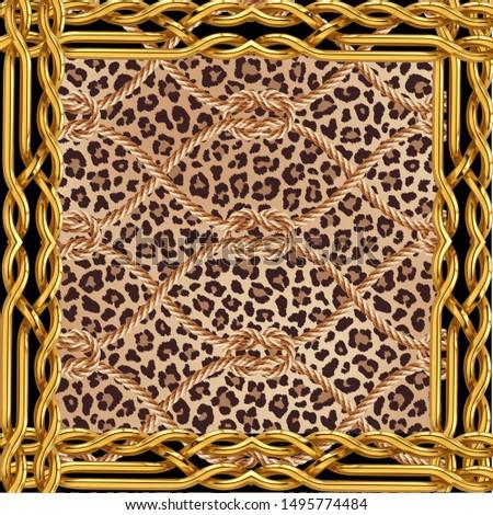 leopard textile pattern textile pattern fabric fashion gold chain animal texture textile decorative elegance art design decor surface