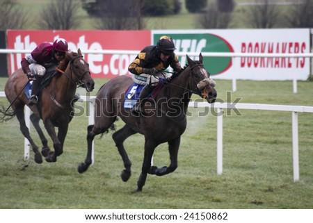 LEOPARDSTOWN, IRELAND:  JAN 25 09:  Jockey Barry Geraghty races to win on Roberto Goldback at the Toshiba Irish Champion Hurdle at Leopardstown Racecourse