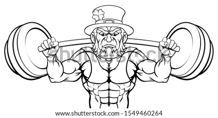 Leprechaun cartoon sports mascot weightlifter character lifting very large barbell weight