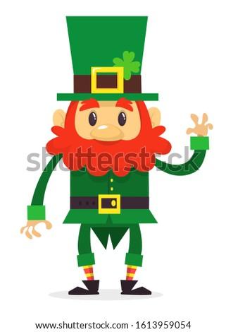 Leprechaun cartoon waving hang. Flat illustration for St Patrick Day
