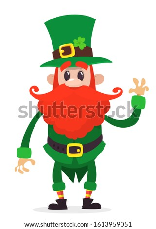 Leprechaun presenting, cartoon character, Happy Saint Patricks Day, illustration