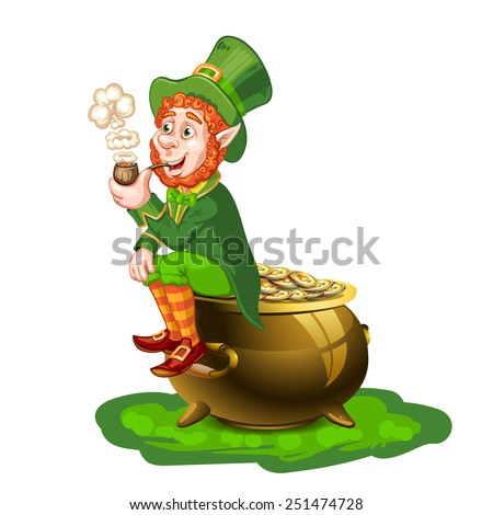 leprechaun sitting on a pot of gold and holding a pipe ez canvas