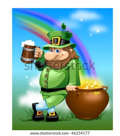 leprechaun with beer mug and pot of gold